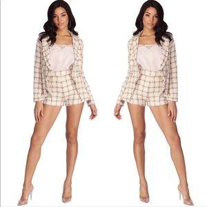 NWT $150 2PC Tweed Plaid Jacket Shorts Set